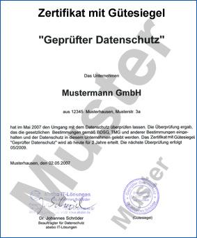 gtesiegel muster - Muster Datenschutzerklarung